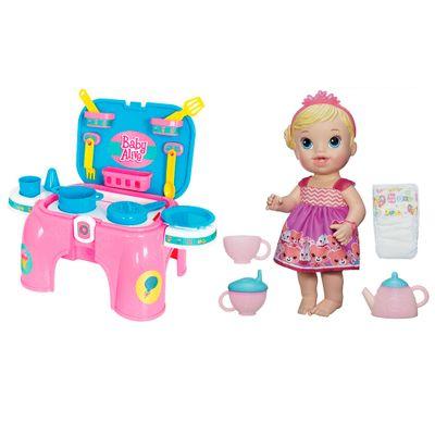 Conjunto Boneca e Acessórios Baby Alive - Boneca Bebê Hora do Chá - Hasbro com Kit de Cozinha - Cotiplás