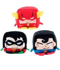 Conjunto-com-3-Pelucias---Cubomania-5-cm---DC-Comics---Liga-da-Justica---Superman---The-Flash-e-Robin---Candide