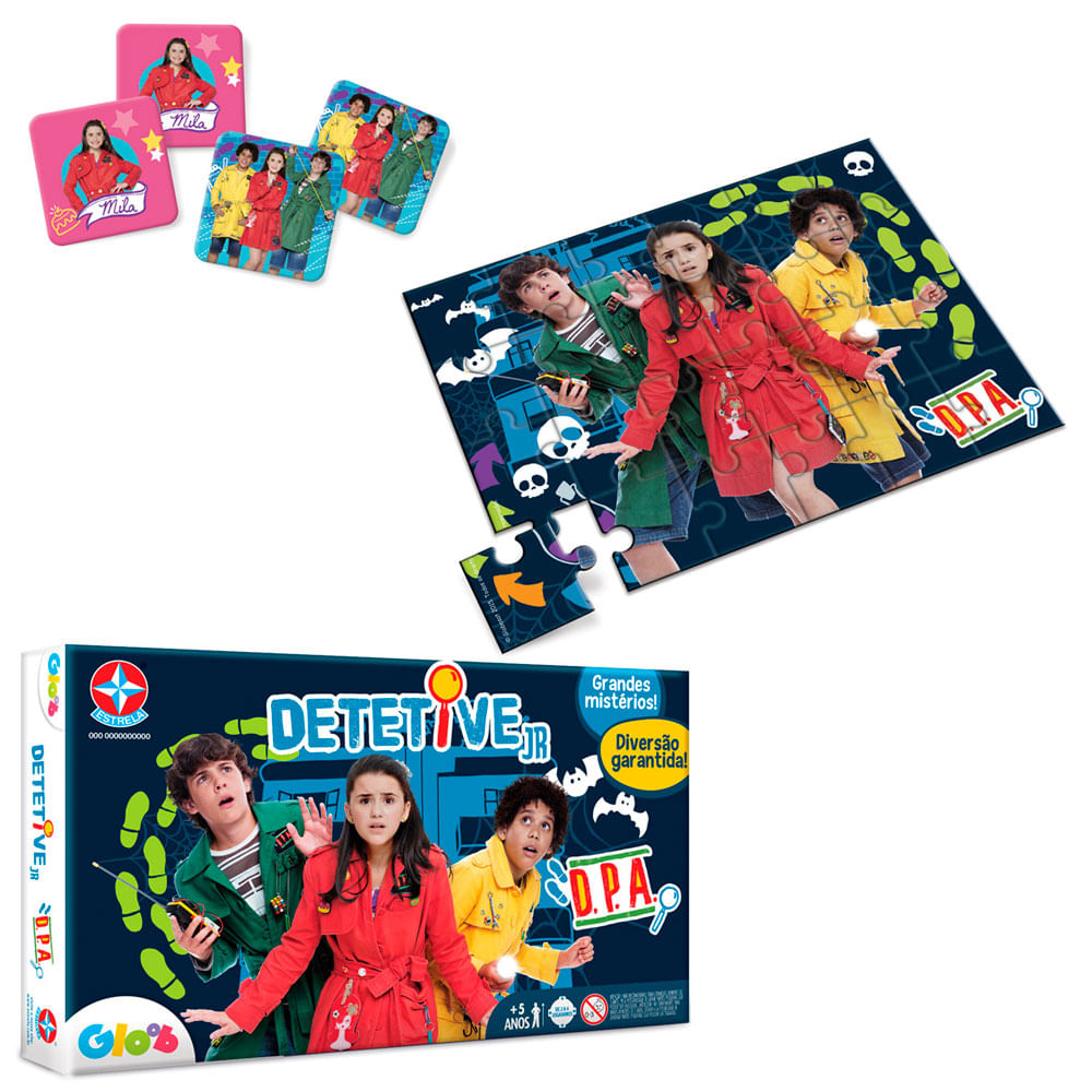 Conjunto de Jogos - Quebra Cabeça de 24 Peças, Jogo da Memória e Detetive Jr. - Estrela