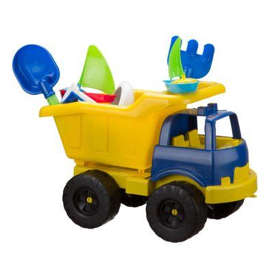 Carrinho-de-Praia---Super-Truck-com-Acessorios---Azul-e-Amarelo