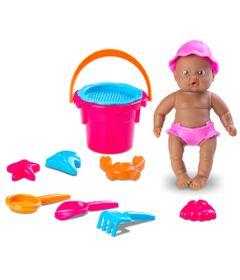 Boneca---Bebe-Mania-Praia---14-cm---Negra---Roupa-Rosa---Roma-Jensen