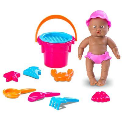 Boneca - Bebê Mania Praia - 14 cm - Negra - Roupa Rosa - Roma Jensen
