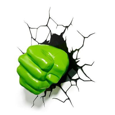 Luminária de Parede - 3D - Disney - Marvel - Avengers - Punho do Hulk - Beek Geeks