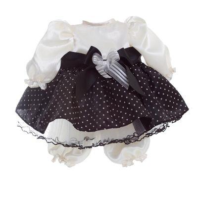 Roupa para Bonecas - Adora Doll - Vestido Branco e Preto com Poás e Laço - Shiny Toys