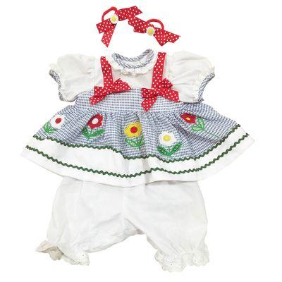 Roupa para Bonecas - Adora Doll - Vestido Azul e Branco com Flores - Shiny Toys