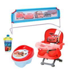 Kit-de-Cadeira-de-Alimentacao-com-Troninho-Grade-para-Cama-e-Copo-com-Canudo---Disney-Cars