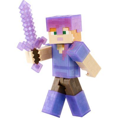 Figura Minecrat - Alex com Armadura Roxa - Mattel