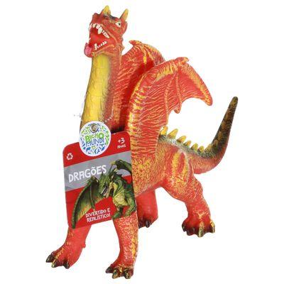Figura de Dragão - 21 cm - Bicho Mundi Dragões - Laranja e Amarelo - DTC