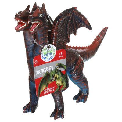 Figura de Dragão - 21 cm - Bicho Mundi Dragões - Vermelho e Preto - DTC