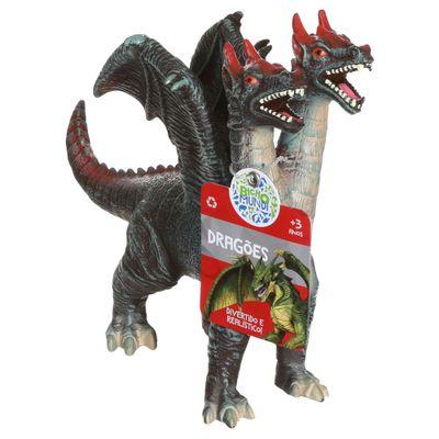 Figura de Dragão - 21 cm - Bicho Mundi Dragões - Verde e Vermelho - DTC