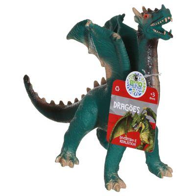 Figura de Dragão - 21 cm - Bicho Mundi Dragões - Verde e Preto - DTC