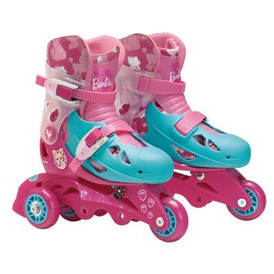 Patins Ajustáveis com Kit de Segurança - 3 Rodas - Tamanho 29 a 32 - Barbie - Fun