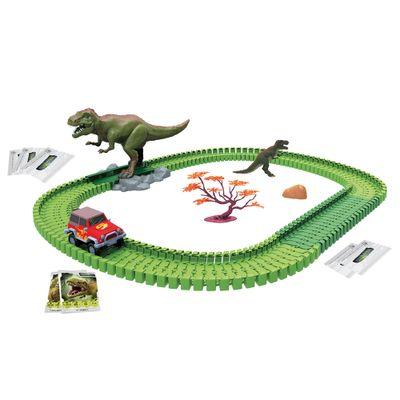 Pista Com Carrinho Dino Mundi - 120 peças - Furia T-Rex - Fun