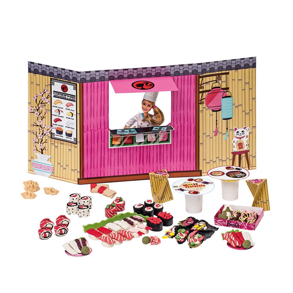 Conjunto Barbie Massinhas - Food Truck - Comidinhas Japonesas e Sushi - Fun