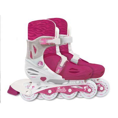 Patins Ajustáveis com Kit de Segurança - 4 Rodas - Tamanho 33 a 36 - Barbie - Fun