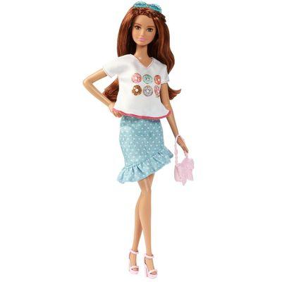 Boneca Barbie Fashionistas - Saia Azul e Camisa com Donnuts - Mattel