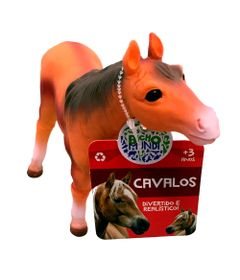 Figura-de-Cavalo---15-cm---Bicho-Mundi---Cavalos---Laranja-e-Marrom---DTC