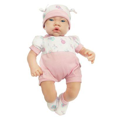 Boneca - Bebezinho da Mamãe com Macacão Rosa Florido - Cotiplás