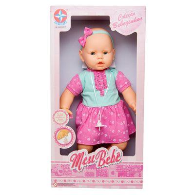 Boneca - Meu Bebê - Vestido Verde e Rosa - Estrela