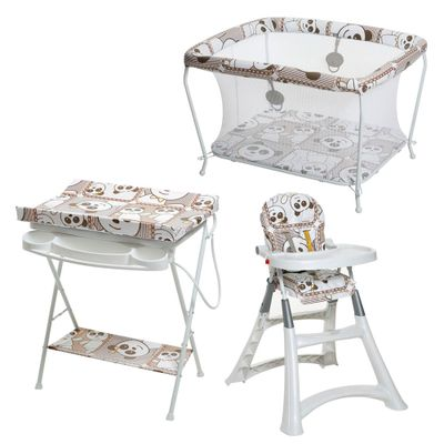 Conjunto-Cadeira-Alta-Banheira-com-Trocador-e-Cercado---Panda---Galzerano