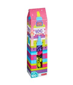Mega-Blocks---First-Builders---Torre-de-100-pecas---Rosa-e-Lilas---Fisher-Price-DPY83-embalagem