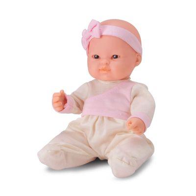 Boneca - Micro Bebê Mania - Pequenas Amigas - Macacão Amarelo e Rosa - Roma Jensen