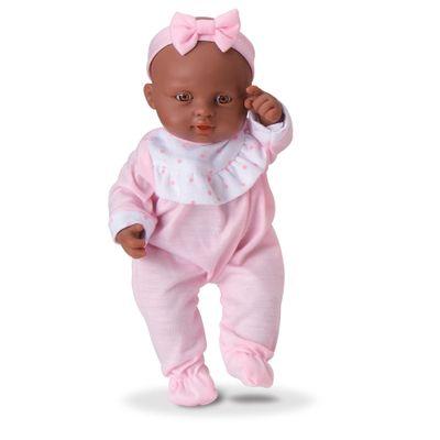 Boneca - Micro Bebê Mania - Pequenas Amigas - Macacão Rosa e Branco - Roma Jensen