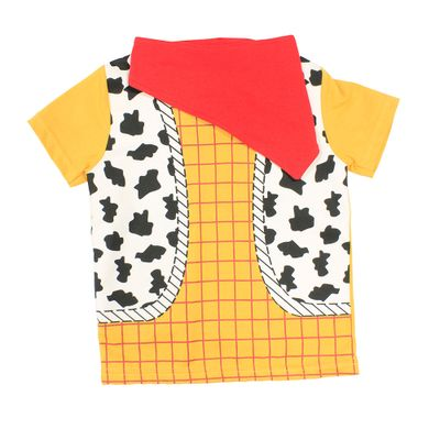 Camiseta Fantasia Manga Curta - Amarela, Branca e Vermelha - Woody - Toy Story - Disney