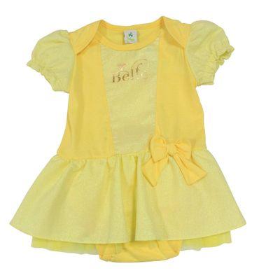 Body Fantasia em Cotton - Amarelo - Bela - A Bela e a Fera - Princesas - Disney