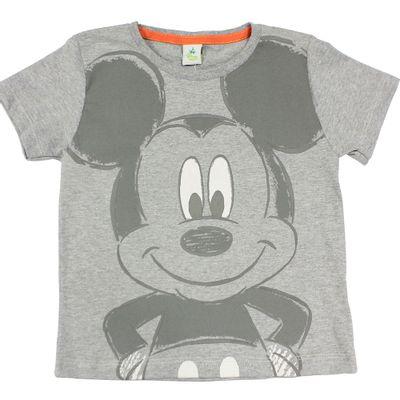 Camiseta Manga Curta em Meia Malha - Mescla - Mickey - Disney