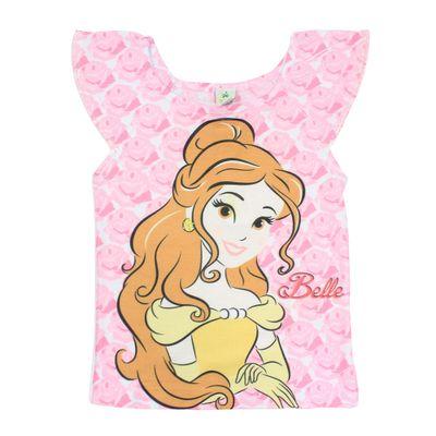 Blusa Manga Curta com Strass - Branca - Bela - A Bela e a Fera - Princesas - Disney