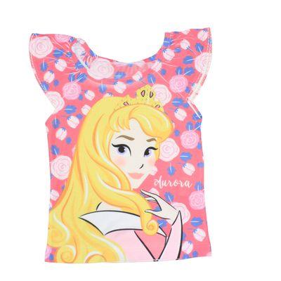 Blusa Manga Curta com Strass - Branca - Aurora - A Bela Adormecida - Princesas - Disney