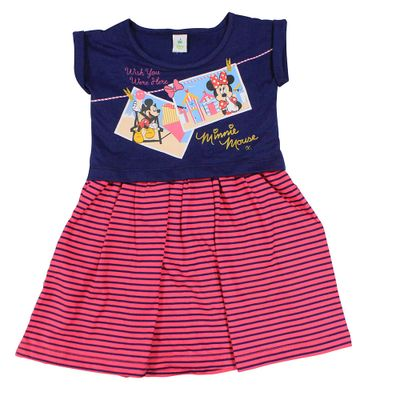 Vestido Manga Curta em Meia Malha - Marinho e Pink - Minnie - Disney