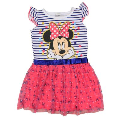 Vestido Manga Curta em Meia Malha - Branco, Marinho e Pink - Minnie - Disney