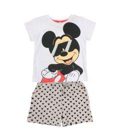 Conjunto-Camiseta-Manga-Curta-em-Meia-Malha-e-Bermuda-em-Moletom---Branco-e-Mescla---Mickey---Disney---P