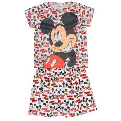 Pijama Camiseta Manga Curta e Bermuda - Branco - Mickey - Disney