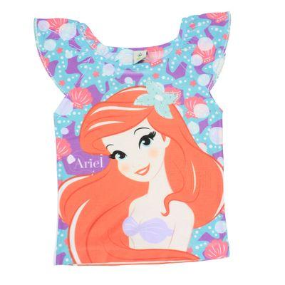Blusa Manga Raglan - Branca - Ariel - Pequena Sereia - Princesas - Disney