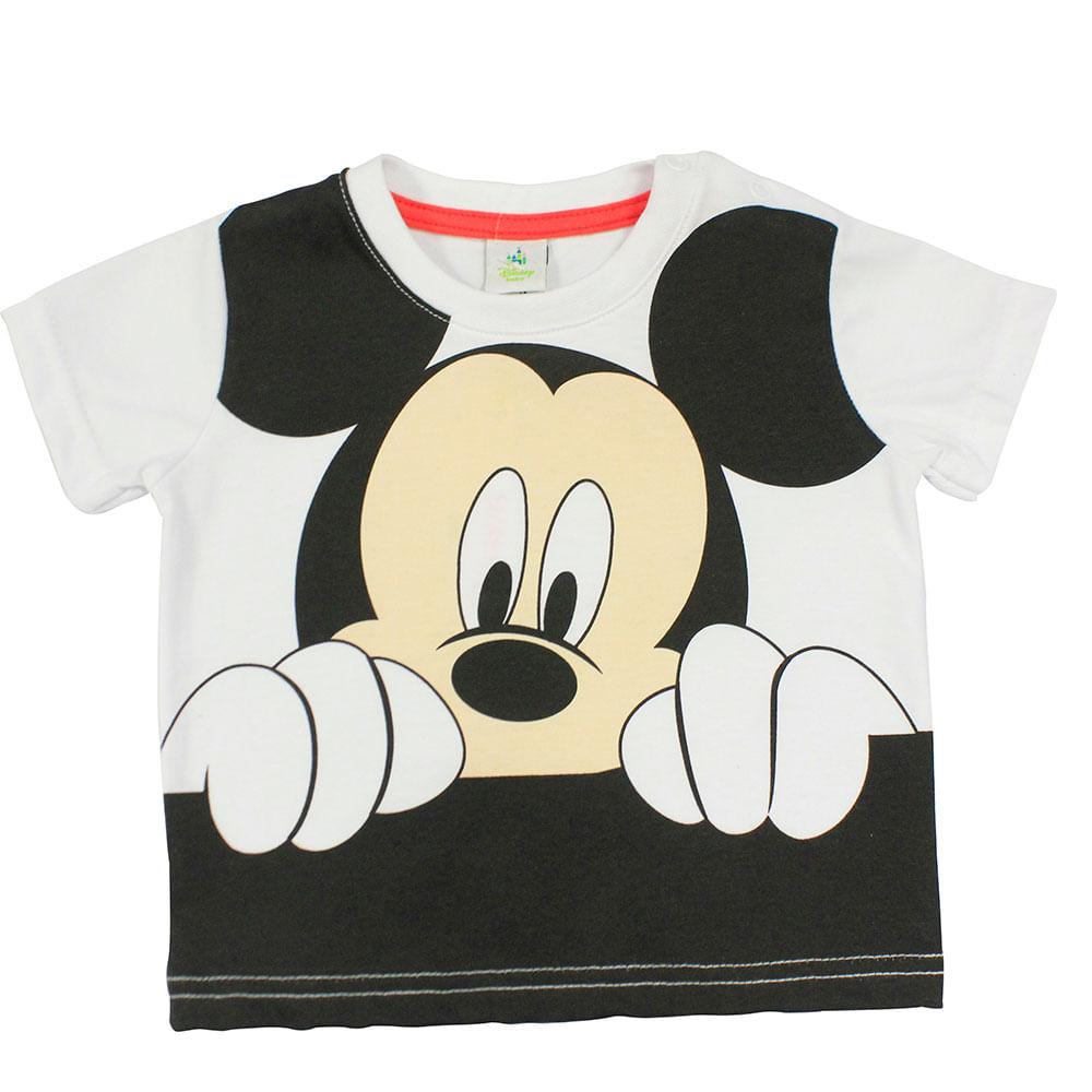 Camiseta Manga Curta em Meia Malha - Branca - Mickey - Disney - G