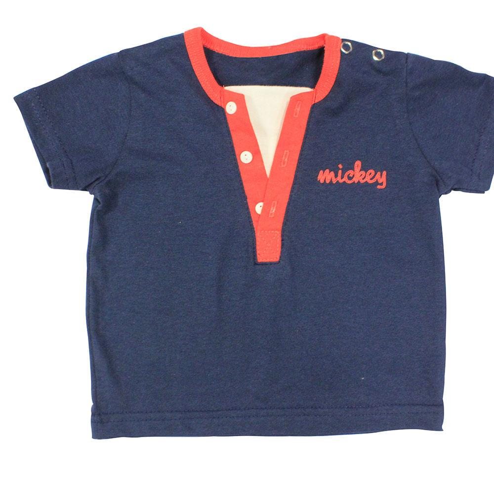 Camiseta Manga Curta em Meia Malha - Marinho - Mickey Wave - Disney - G