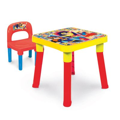 Mesa com Cadeira - DC Super Hero Girls - Amarelo e Vermelho - Monte Líbano