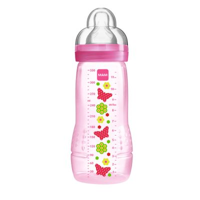 Mamadeira Fashion Bottle Grils 330 ml - Rosa - Borboletas - MAM