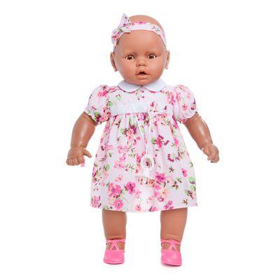 Boneca Meu Bebê - Coleção Bebezinho Negra - Vestido Florido - Estrela