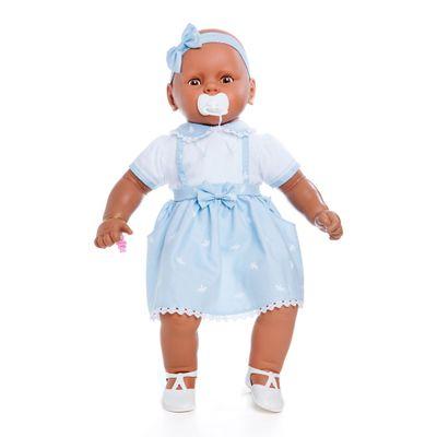 Boneca Meu Bebê - Coleção Bebezinho Negra - Vestido Azul - Estrela