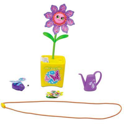 Figura Musical - Jardim Mágico - Flores Cantoras e Acessórios - Vaso Amarelo - DTC