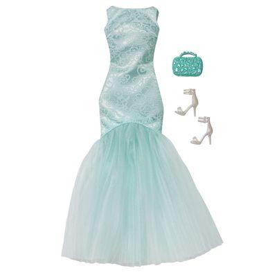 Roupinha para Bonecas Barbie - Vestido de Gala Azul Claro - Mattel