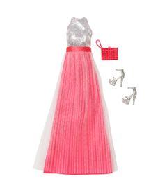 Roupinha-para-Bonecas-Barbie---Vestido-de-Gala-Prata-e-Rosa--Mattel