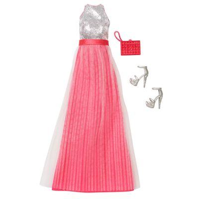 Roupinha para Bonecas Barbie - Vestido de Gala Prata e Rosa- Mattel