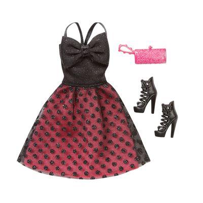 Roupinha para Bonecas Barbie - Vestido de Gala Preto e Vermelho - Mattel