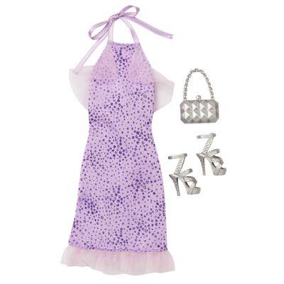 Roupinha para Bonecas Barbie - Vestido de Gala Roxo e Acessórios - Mattel