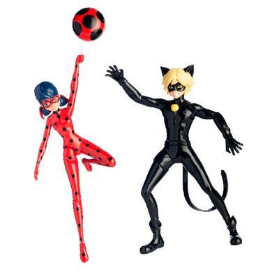 Kit de Bonecas Articuladas Miraculous - 20 cm - Ladybug com Io-Iô e Cat Noir que Gira - Sunny